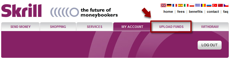Moneybookers UPLOAD FUNDS