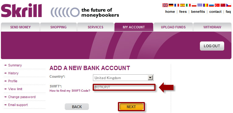 4 If Your Withdrawal Method Of Choice Is Via Bank Transfer Enter S Swift Code
